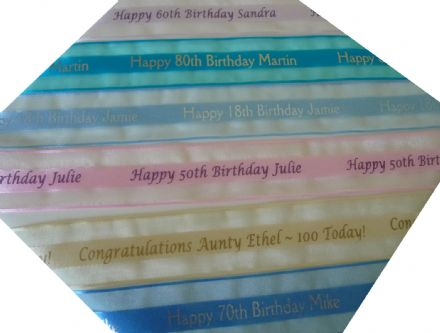 Personalised organza 30th 40th 50th Birthday Ribbon 38mm width (1.5 inch)